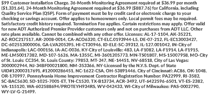 ADT Home Security Systems Disclaimer