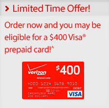 Limited Time Offers. Order today and get a $400 Visa Prepaid Card*